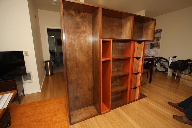 Birch Book case with Mahogany trim and drawers