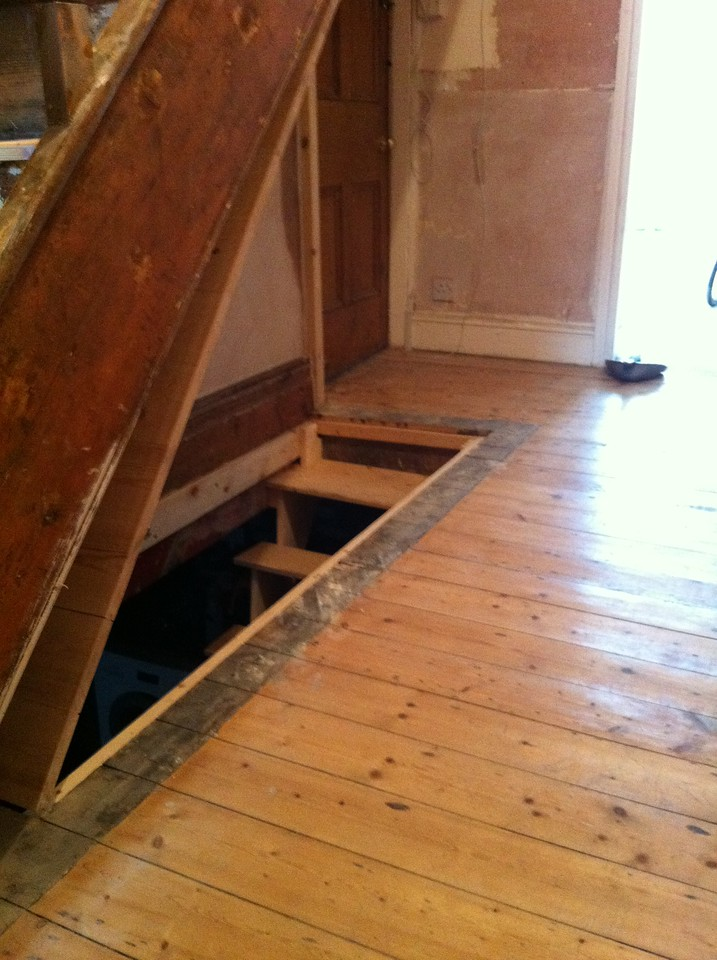 The new cellar hatch in the open position.