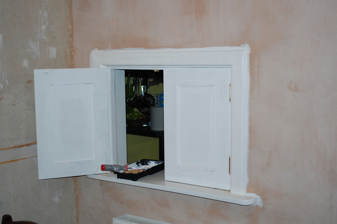 Serving hatch doors, made to match the new alcove unit.