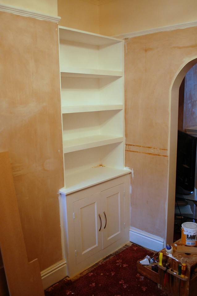 Alcove unit, custom made. White eggshell pain on MDF.