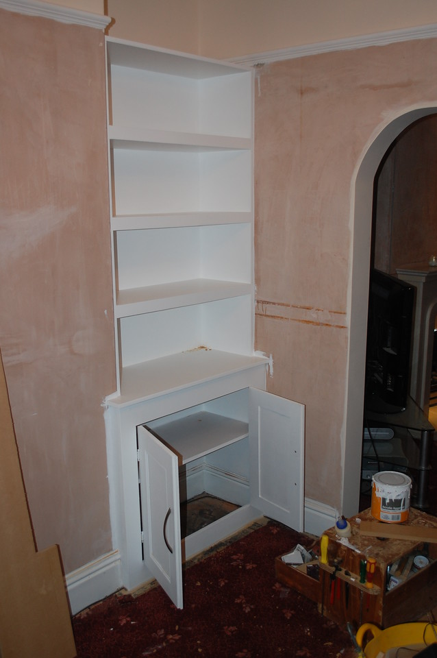 "Custom made alcove units by  <a href=""http://www.harrisonwoodwork.com"">http://www.harrisonwoodwork.com</a>"