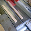 Cutting the new glass retainers on the table saw.
