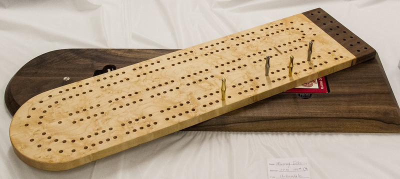 Murray Ellis - Cribage Board - Birdseye Maple and Walnut - Deceased Jan 2016