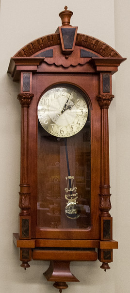Phil Laudenklos - Cherry and Walnut - 1st Place Clock Category and 1st Place Best of Show in the Woodworking Category.