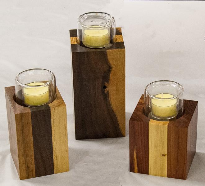 Randy Offenburger - Set of 3 Candle Holders - Walnut, Pine, Cedar