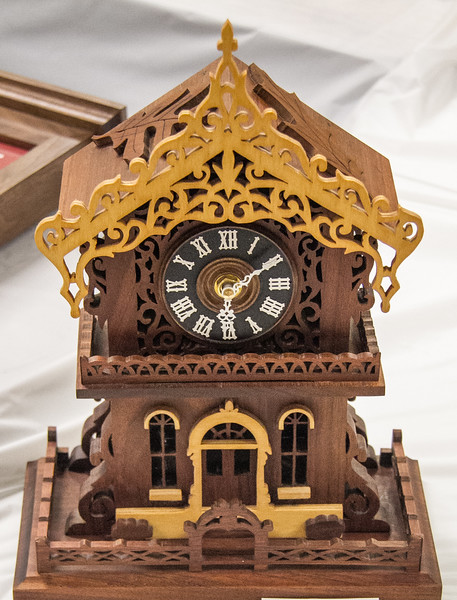 Orv Barbee - Scroll Clock - Walnut and Birch