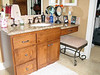 "Alder Vanity ""hers"" with make up desk, stained dark"