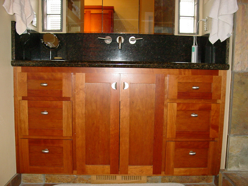 "Cherry Vanity with ""Shaker"" Doors and Drawer Fronts"
