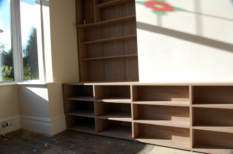 "American lack Walnut Alcove units. Custom made by  <a href=""http://www.harrisonwoodwork.com"">http://www.harrisonwoodwork.com</a>."