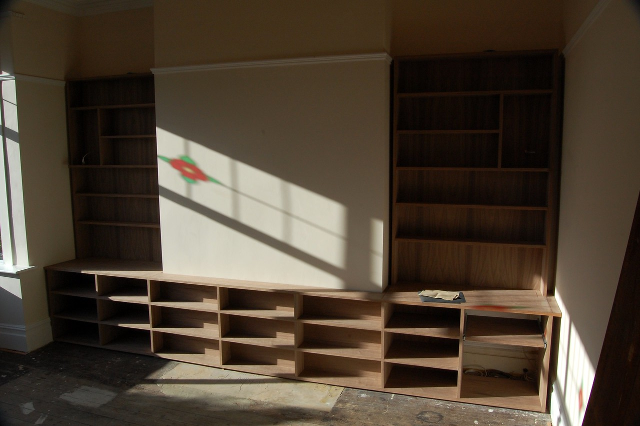 "American Black Walnut Alcove units. Custom made by  <a href=""http://www.harrisonwoodwork.com"">http://www.harrisonwoodwork.com</a>"