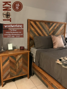 Chevron bed and nightstand