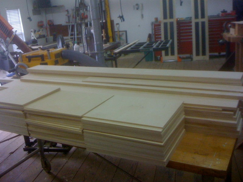 I began by building flat-paneled sides, and cutting lots and lots of shelves.