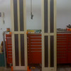 "Prior to assembly, I dyed the panels black which is the base coat in a multi-step finishing process.  The Panels are cut from 1/2"" Baltic Birch ply, and the frames were built using 5/4 Poplar.<br /> All components were assembled using mortise and tenon joinery."