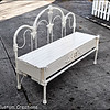 Custom bench made from old wrough iron headboard, footboard and bed frame.