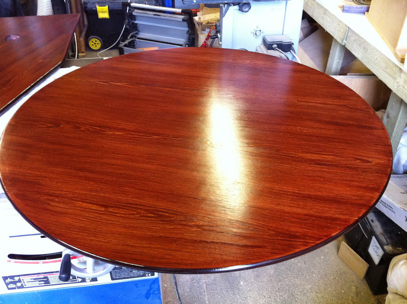 Refinishing a meeting table with Red Mahogany Water based stain and Clear Satin Acrylic lacquer.