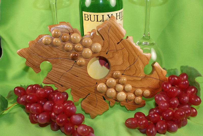 Solid Cherry Wine Glass Holder   -  $25