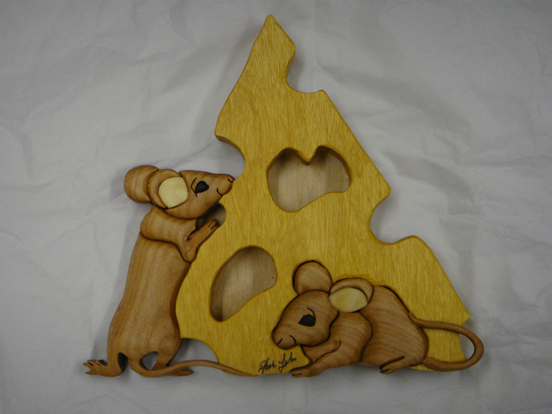 Mice & Cheese  <br /> Elmwood Intarsia by Jack Labor