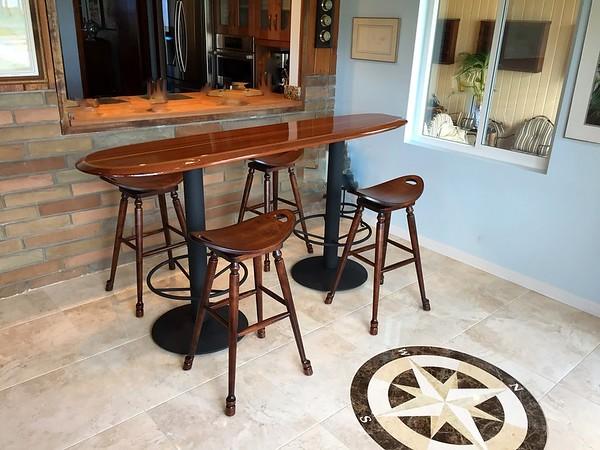 "7' 2"" x 20"" Santa Cruz bar table top"