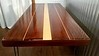 Vintage nautical Reclaimed Old Growth Redwood table mid century hairpin legs