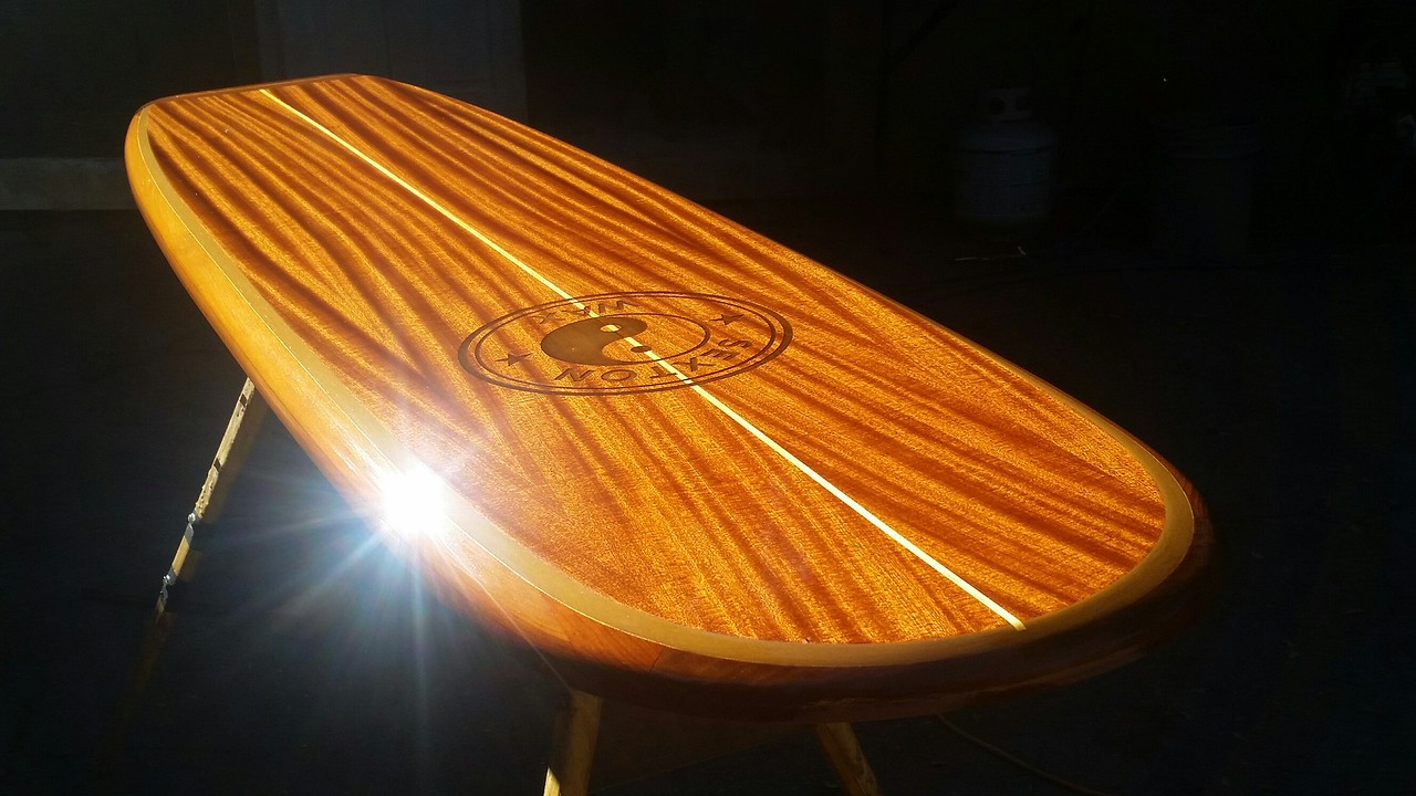 "custom 7'3"" Santa Cruz bar table top, family logo laser etching"