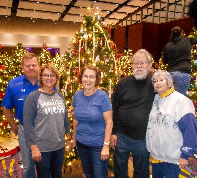 Festival of Trees & Lights 2016. Pictured from left to right is the Decoration Crew - Terry and Mary Voss, Patty Hemphill, Bob and Ginny Wheeler.
