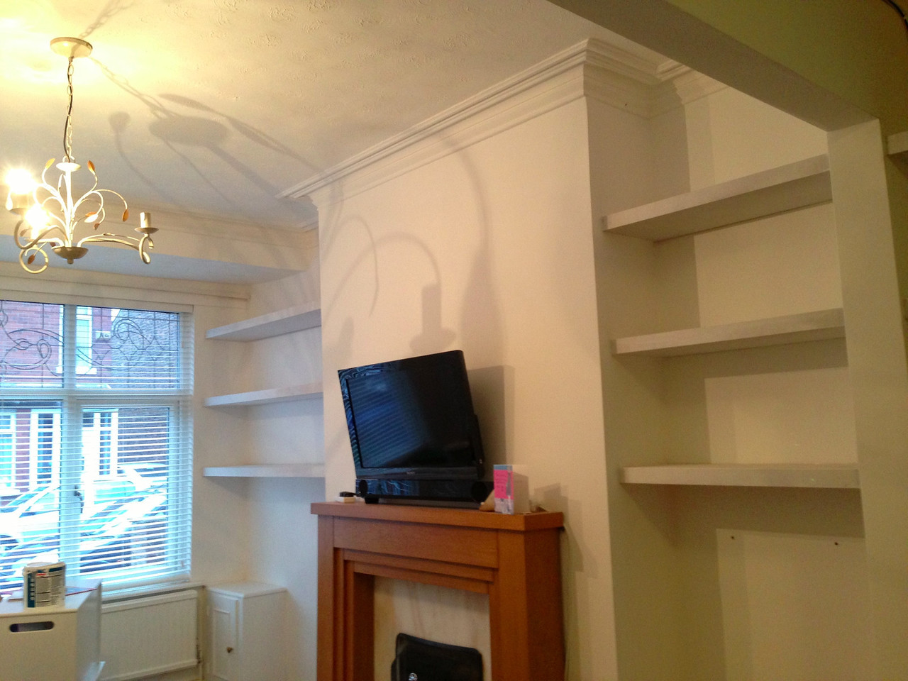 "Floating shelves by  <a href=""http://www.harrisonwoodwork.com"">http://www.harrisonwoodwork.com</a>"