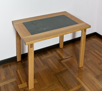 Side table in oak and ceramic tile