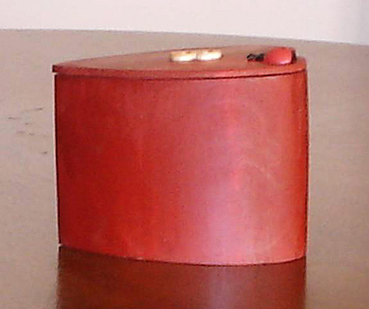 Herb Rosen (item 5 view 2) built this band sawed Ear Ring Box - red stained bass wood, red felt lined interior, swivel top lid, multi aerosol lacquer finish and waxed.