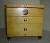Jewelry Box by Herb Rosen. Yellow Heart Wood with Blood Wood inlays & inside trim. Brass hardware and red felt lining
