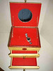 Interior of Jewelry Box by Herb Rosen. Yellow Heart Wood with Blood Wood inlays & inside trim. Brass hardware and red felt lining