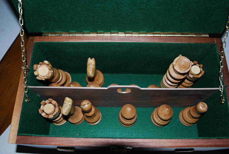Inside view of Chess Set Chest by Herb Rosen.