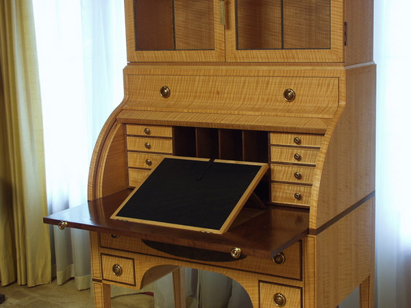 Bill Hopkins (item 1 view 3) built this beautiful cylinder-top writing desk, circa 1792, that won Best of Show in the Woodworking - Creative Crafts Division at the 2004 Iowa State Fair.