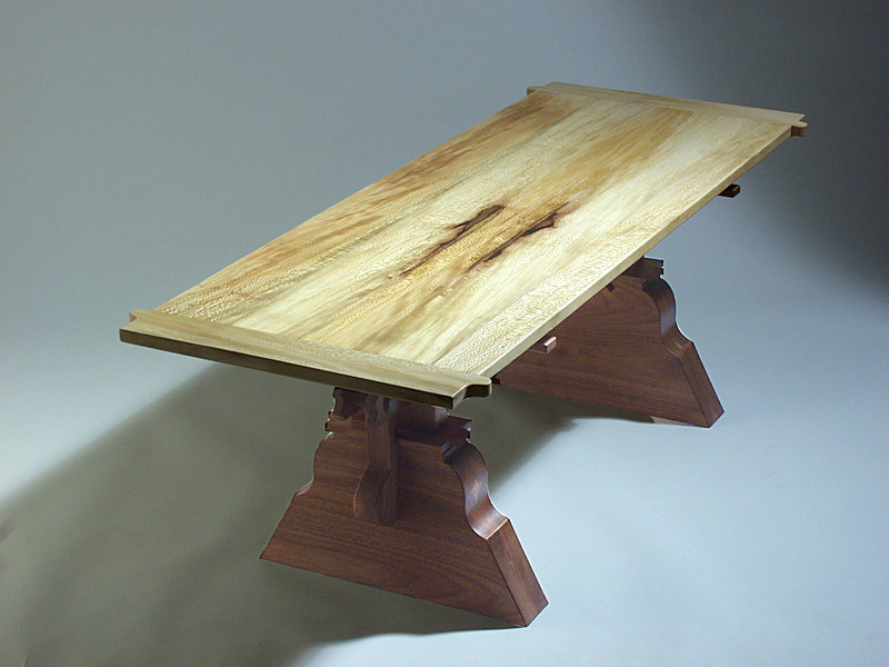 """Dave Grieve (view 2) designed and built this Tressel Table for the Women's Resource Center  """"Sit On It Auction"""".  The under structure is Walnut and the top is Sycamore."""