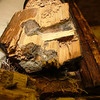 "The top of the leg is full of woodworm and has been repaired before at some point. By  <a href=""http://www.harrisonwoodwork.com"">http://www.harrisonwoodwork.com</a>"
