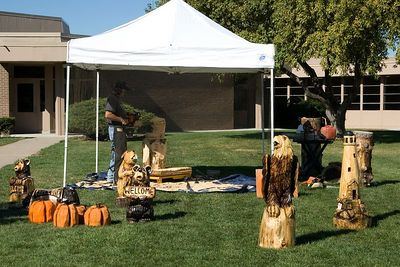 This chain saw carver was working in a tent on the front lawn of the converence center.