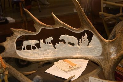 Carvers aren't limited to working with wood.  This scene is carved from antler.