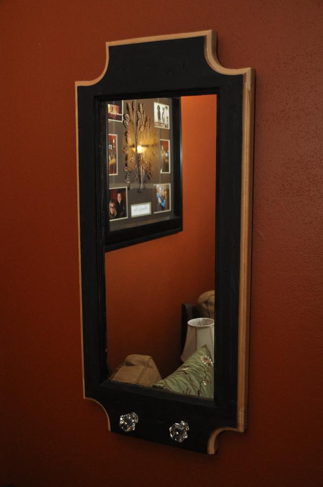 Custom Mirror made with part of an old door.<br /> <br /> Sold to Sharri Besednik, Jamestown, ND