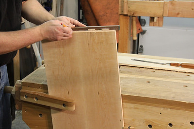 Mark the mortise locations in the clamp.