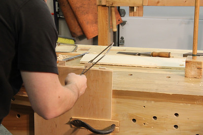 Cut tenons to length.  I used a coping saw, since the ends of the stub tenons aren't critical.
