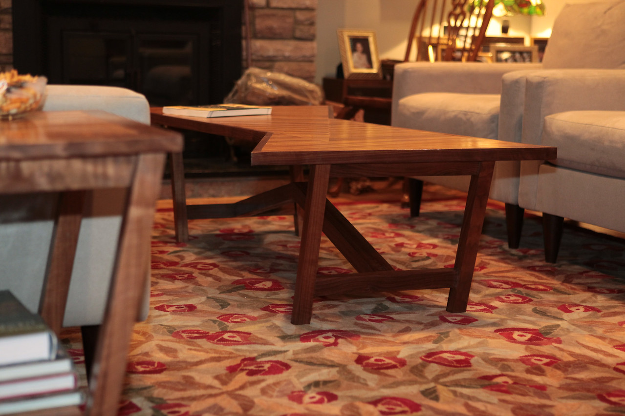 """Triangle Coffee Table<br /> """"Bent Stretcher"""" Collection<br /> Solid Walnut with Solid Zebrawood top<br /> 60""""lx20""""wx24""""h"""