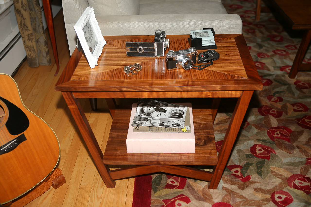 """Triangle End Table<br /> """"Bent Stretcher"""" Collection<br /> Solid Walnut and Walnut Burl and Solid Zebrawood Top<br /> 30""""lx18""""wx26""""h"""