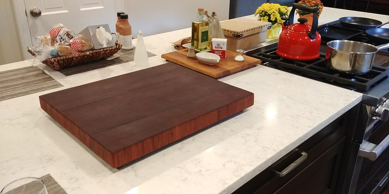 "Chopping Block: 16""x19"" Sapele Mahogany, Teak Feet"