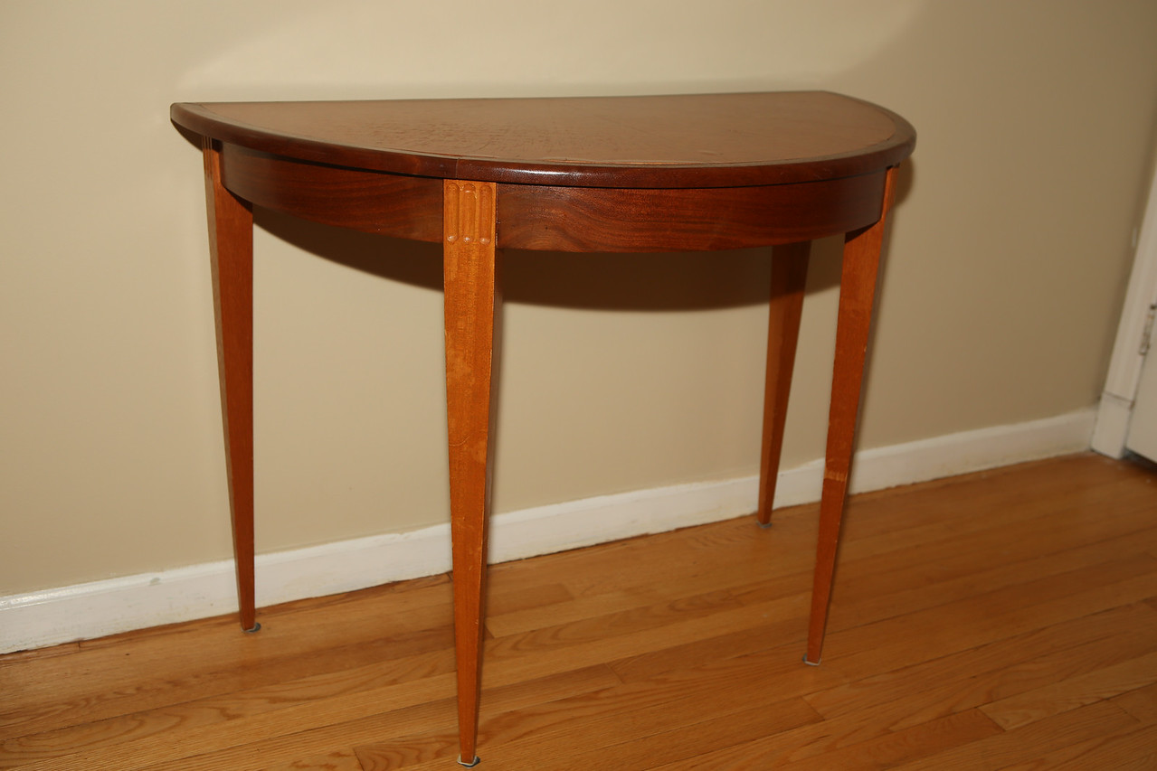 Demi-Lune Table<br /> Solid Mahogany with Madrone Burl veneer