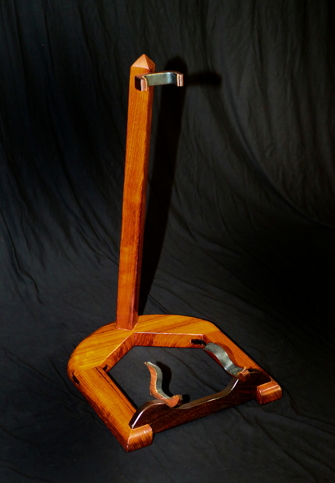 Howard's Guitar Stand<br /> Solid Bubinga, Cocobolo, Leather