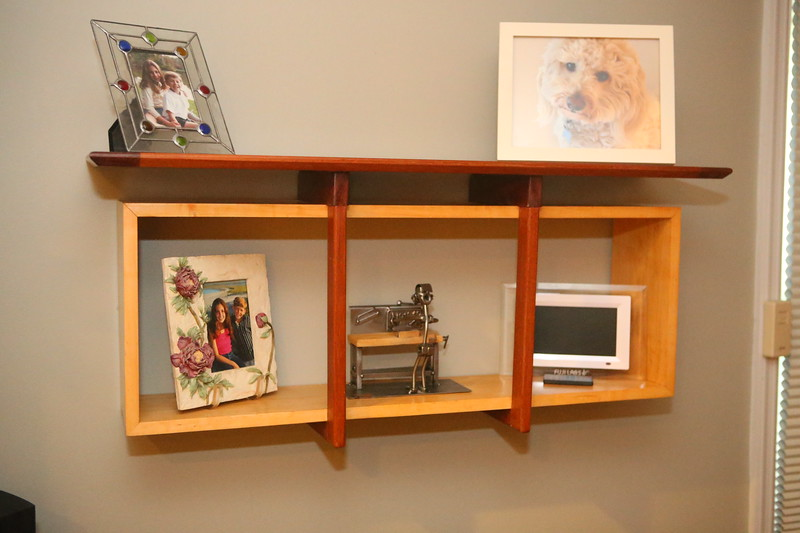 """""""Luggage Strap"""" Wall Shelf<br /> Solid Mahogany Top Shelf and """"Straps""""<br /> Solid Maple Box<br /> 40""""l x 10"""" d x 17"""" h<br /> $820"""