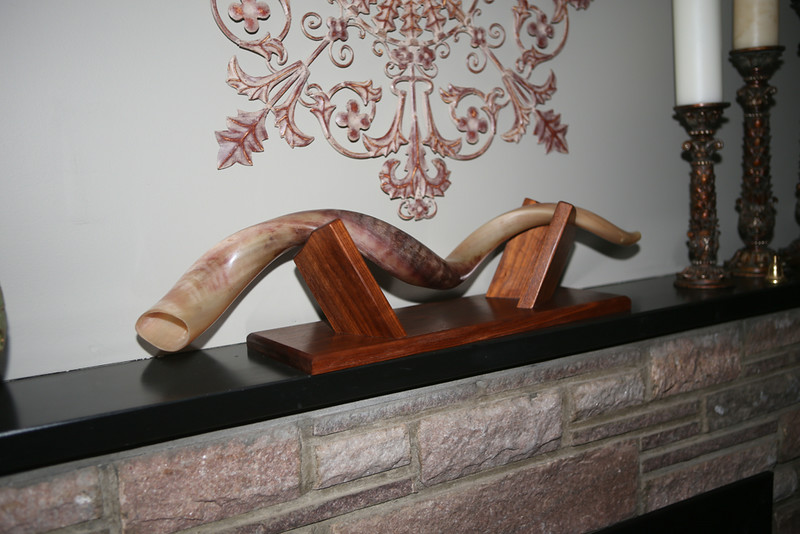 Shofar Stand<br /> Solid Walnut<br /> Custom fit to horn<br /> $350