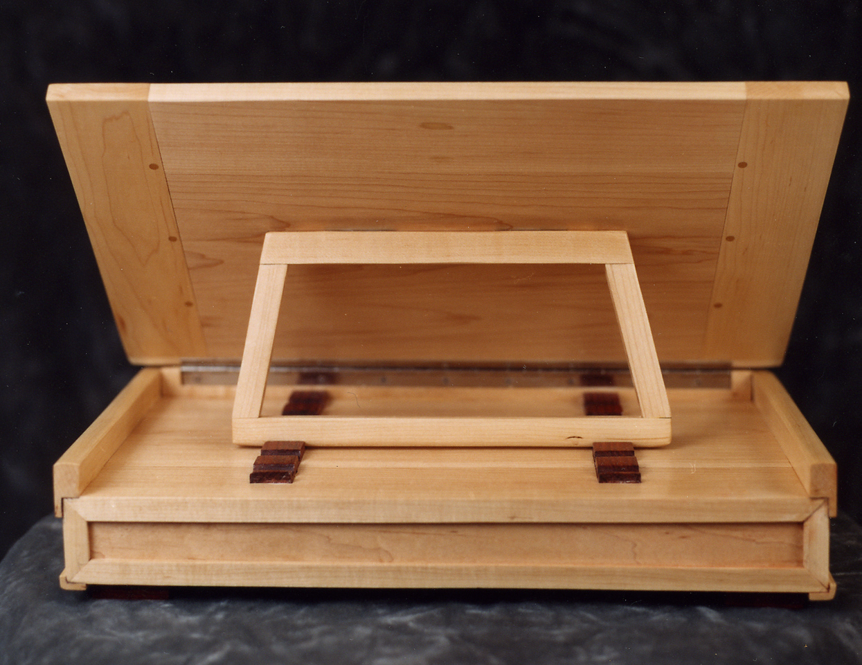 Music Writing Desk - Back view<br /> Solid Maple<br /> Cocobolo Handles and Adjustment Blocks<br /> Adjusts to writing angles