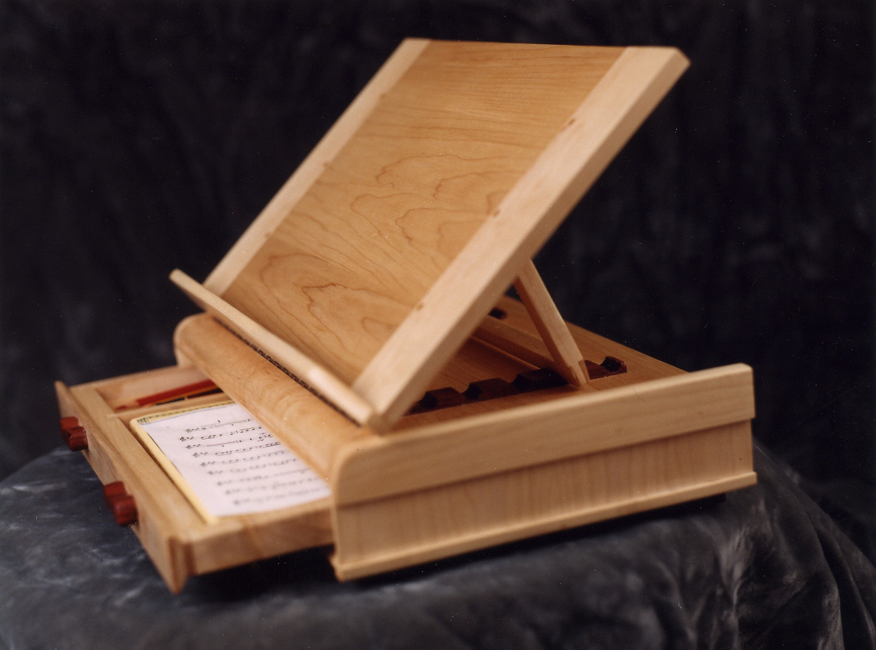 Music Writing Desk<br /> Solid Maple<br /> Cocobolo Handles and Adjustment Blocks<br /> Sized for sheet music with separate pencil compartment