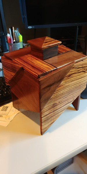 Tea Box: Zebra wood and Walnut, maple interior