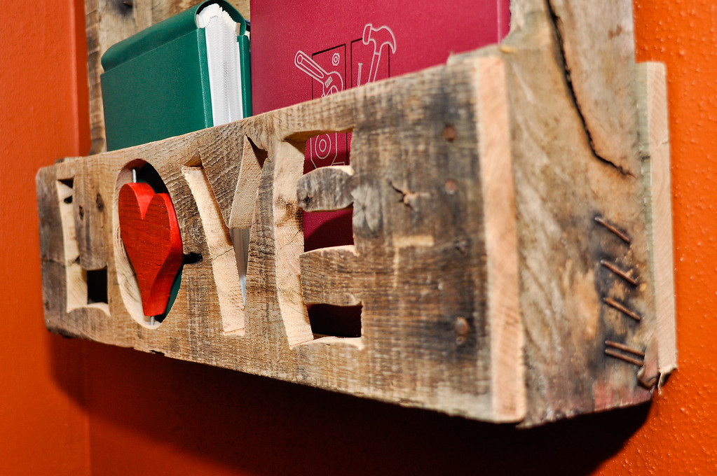 Pallet Shelf, Love w/ floating heart<br /> <br /> Sold to Chastity Nenow
